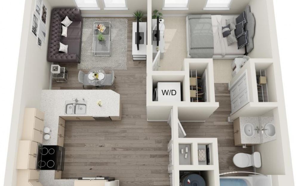 Daufuskie - 1 bedroom floorplan layout with 1 bath and 615 square feet.