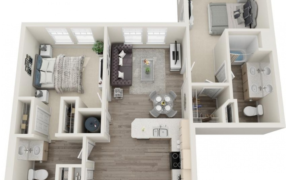 Edisto - 2 bedroom floorplan layout with 2 baths and 921 square feet.