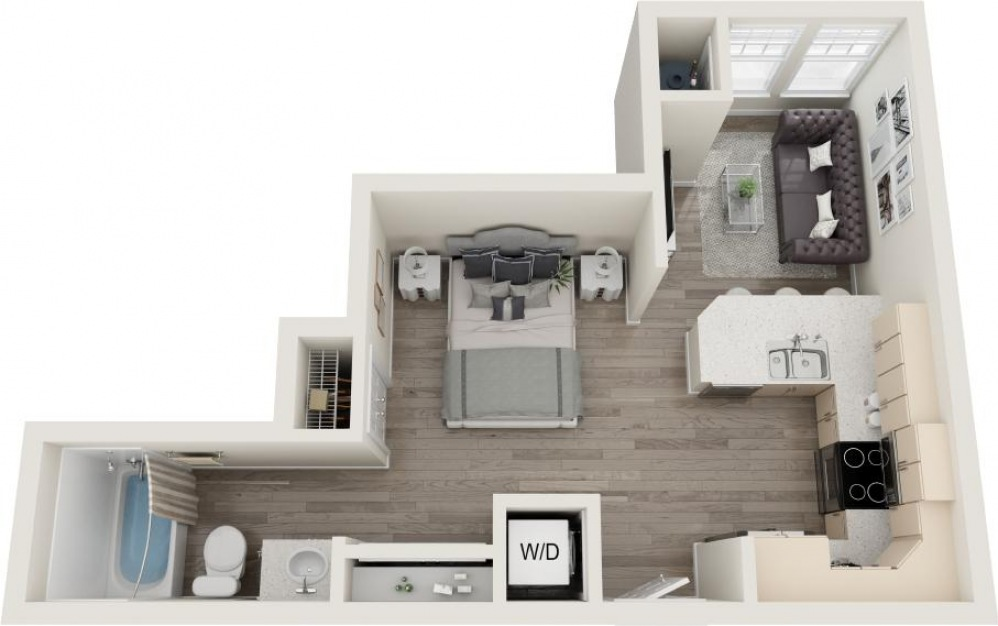 Folly - Studio floorplan layout with 1 bath and 487 square feet.