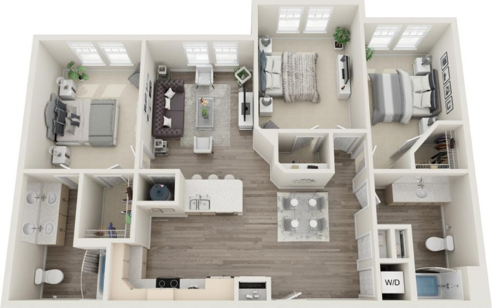 Fripp - 3 bedroom floorplan layout with 2 baths and 1265 square feet.