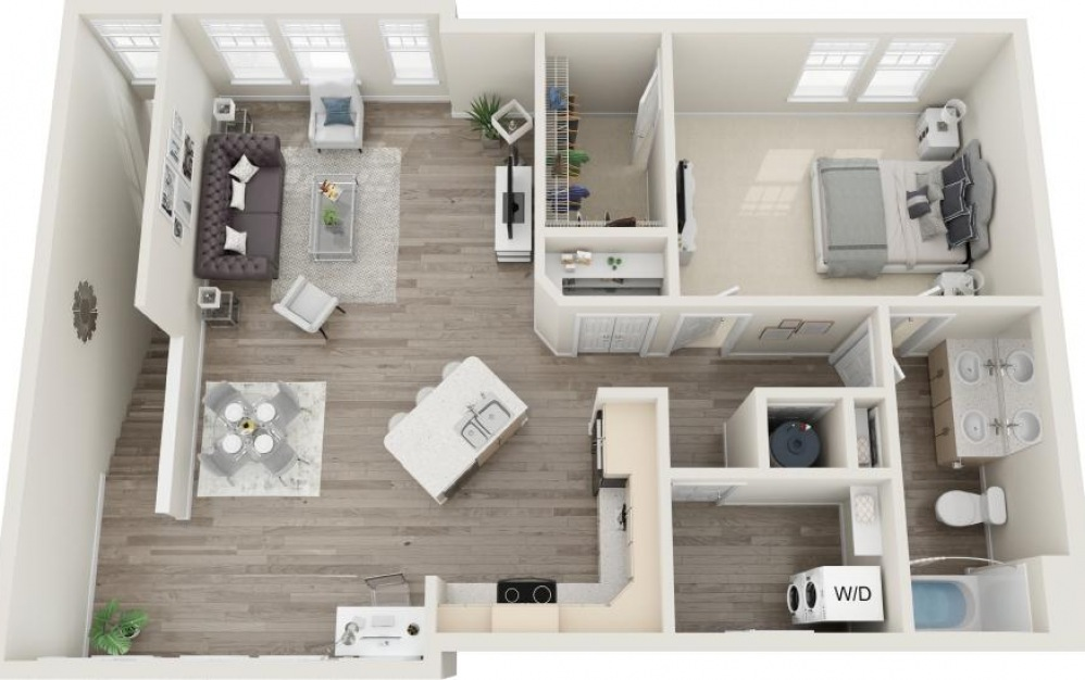 Harbor - 1 bedroom floorplan layout with 1 bath and 1103 square feet.