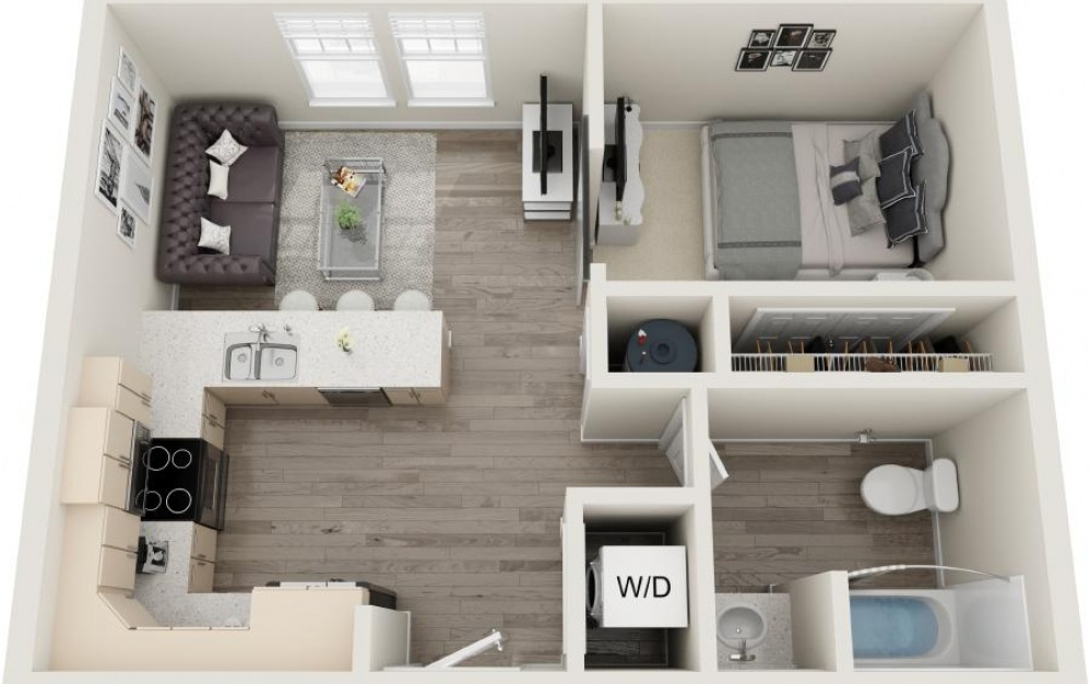 Isle Palms - Studio floorplan layout with 1 bath and 685 square feet.