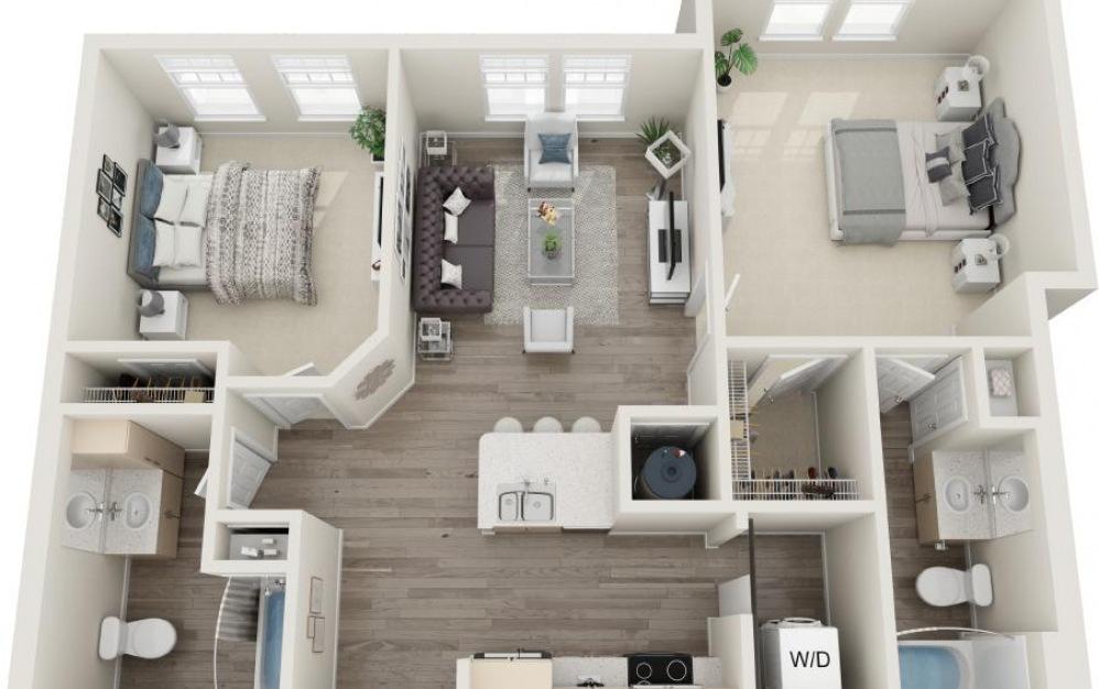 Kiawah - 2 bedroom floorplan layout with 2 baths and 1013 square feet.