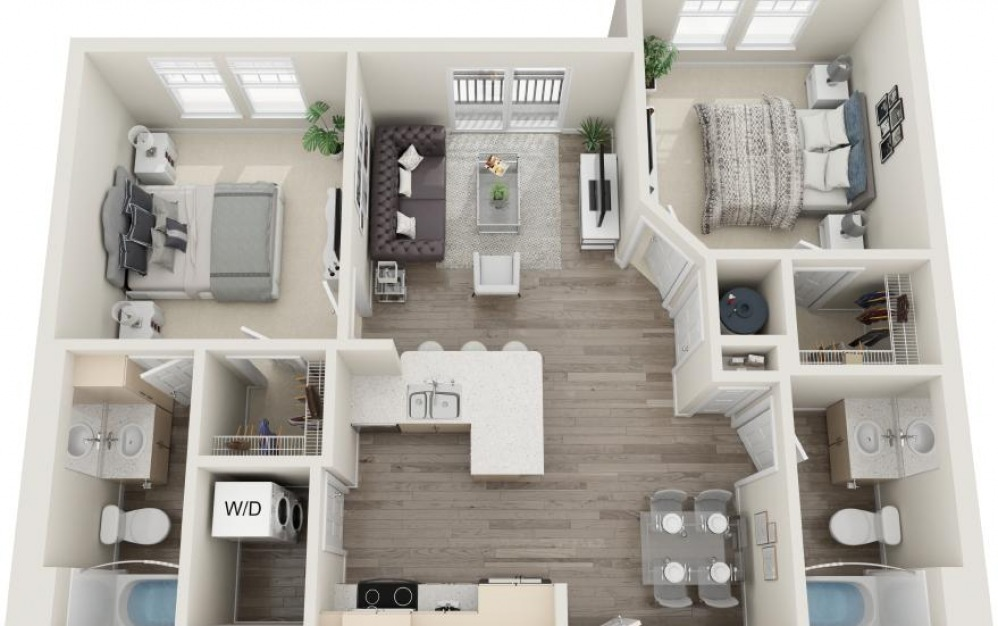 Pawleys - 2 bedroom floorplan layout with 2 baths and 985 square feet.