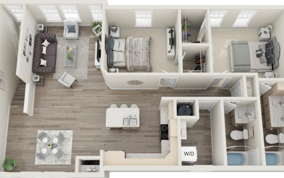 Port Royal - 2 bedroom floorplan layout with 2 baths and 1257 square feet.