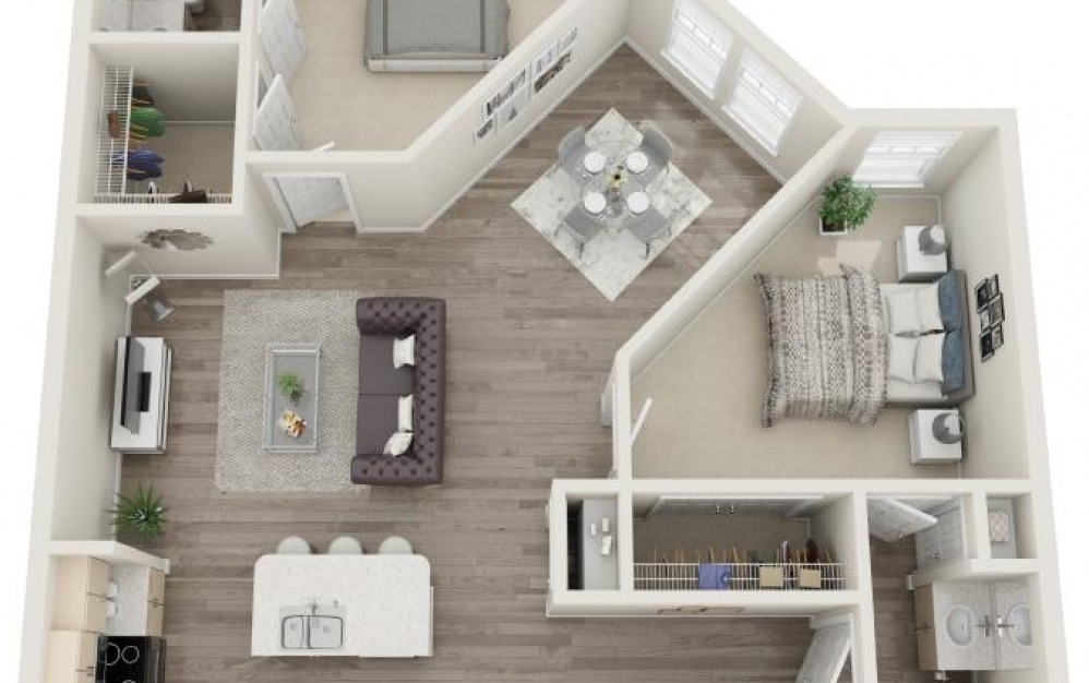 Seabrook - 2 bedroom floorplan layout with 2 baths and 1140 square feet.