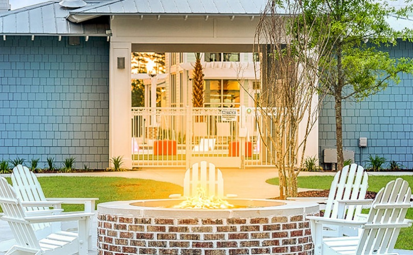Outdoor space with fire-pits and seating